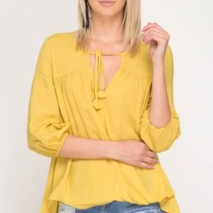 NWT Surplice Woven Top Front Tassel…